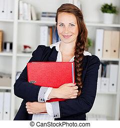 成功した, 女性実業家, つなぎ, 微笑