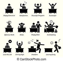 成功した, 幸せ, 労働者のオフィス, 効率的である, 満足させられた, 経営者, 労働者, workplace., works., 楽しむ