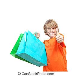 成功した, 幸せ, 買い物客, 子供