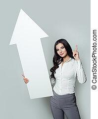 成功した, 投資, ビジネス, 成功, そして, 分け前, の上, concept., ビジネス 女, 指すこと, そして, 保有物, 白, 上昇, 矢, 表すこと, ビジネス, growth.