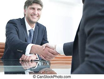 成功した, 握手, ビジネス 人々