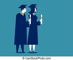 成功した, 漫画, 学生, 特徴, ベクトル, graduation., 生徒, 教育, illustration., 概念