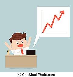 成功した, chart., ビジネス 成長, design., 平ら