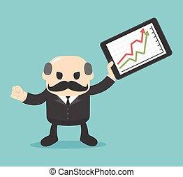 成功した, chart., 成長する, ビジネス