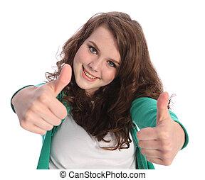 成功, の上, 2, 親指, 微笑の女の子, ティーネージャー