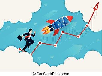 成功, ゴール, 努力, ビジネス, idea., leadership., ターゲット, 行きなさい, 競争, 財政, ビジネスマン, arrow., ベクトル, 創造的, ロケット, 赤, イラスト, growth.