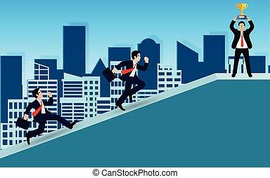 成功, ゴール, idea., ビジネス, leadership., ターゲット, 行きなさい, 競争, 財政, ビジネスマン, の上, ベクトル, 創造的, 努力, イラスト, growth., slope.