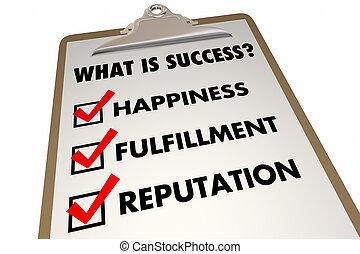 成功, チェックリスト, イラスト, 満足感, 言葉, 幸福, 3d