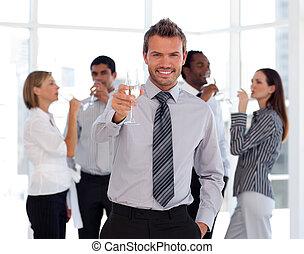 成功, チーム, 祝う, ビジネス