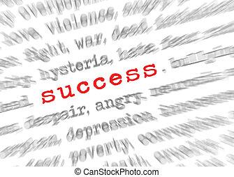 成功, テキスト, 効果, フォーカス, blured, ズームレンズ