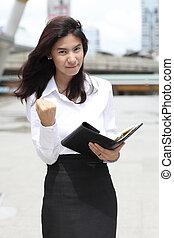 成功, ビジネス, イメージ, 若い女性, ジェスチャーで表現する