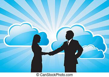 成功, ビジネス, 計算, チーム, 技術, 雲