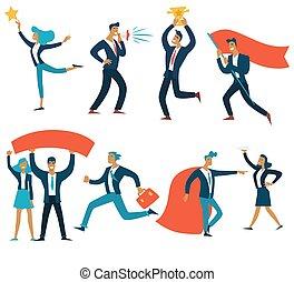 成功, ビジネス, 隔離された, チームワーク, ビジネスマン, 概念, 女性実業家