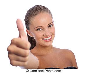 成功, ポジティブ, の上, 若い, 親指, 女の子, 幸せ