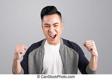 成功, ポジティブ, 若い, 感情, アジア人, 肖像画, 幸せ, 興奮させられた, 人