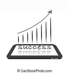成功, 上に, デジタルタブレット