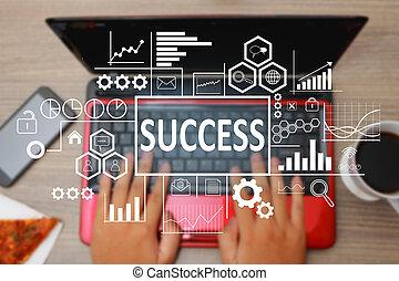 成功, 中に, ビジネス 概念