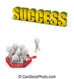 成功, 人々, 規則, -, 小さい, 3d
