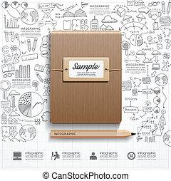 成功, 作戦, 本, infographic, pla, doodles, 線画