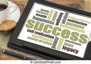 成功, 単語, 雲, タブレット