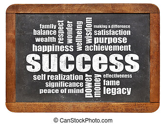 成功, 単語, 雲, 上に, 黒板