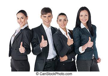 成功, 商务人士, 带, 上的拇指, 同时,, 微笑。, 站, 隔离, 在怀特上