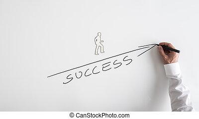 成功, 手, 方法, 上昇, 図画, 人
