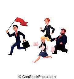 成功, 旗, ビジネス 人々, キャリア, 後で, 動くこと, 概念, 保有物, リーダー