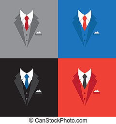 成功, 概念, イラスト, スーツ, ビジネスマン, リーダー