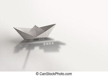 成功, 概念, ペーパー, 巡航客船, 影, ボート