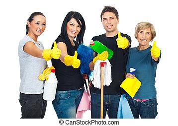 成功, 配合, 打扫, 人们