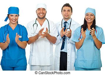 成功, 隊, ......的, 醫生, 鼓掌, 一起