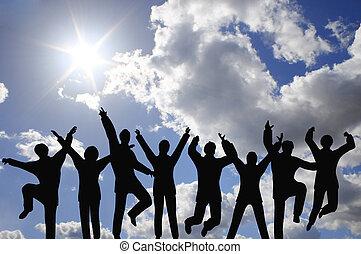成功, businessteam, 在上, 天空