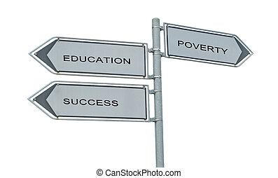 成功, eduacation, 印, 窮乏, 道