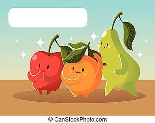 成果, おかしい顔, アップル, ナシ, 漫画, kawaii, オレンジ, かわいい