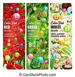 成果, 食事, 野菜, ナット, ビタミン, 食品。, 色