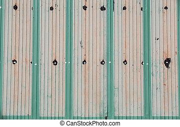 成為波形弄皺, 柵欄, 金屬牆壁, 生鏽, 關閉, 鐵, 鋅, up/