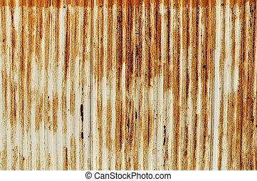 成為波形弄皺, 生鏽, 老, 鐵, 柵欄