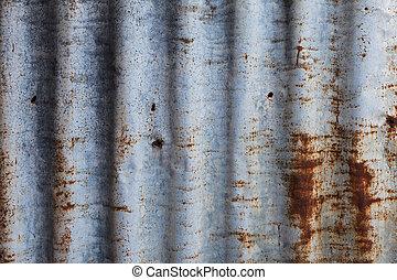成為波形弄皺, 老, 柵欄, 向上, 生鏽, 鐵, 關閉
