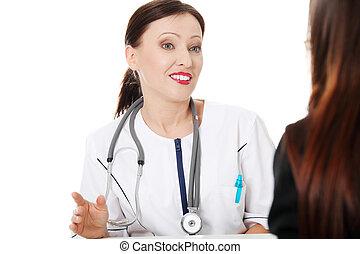 成熟醫生, 由于, 她, patient.