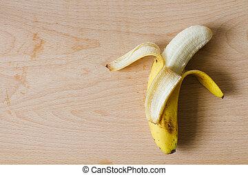 成熟, 剝皮, 香蕉, 上, 木制, 切板, 頂視圖