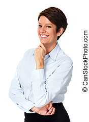 成熟, 女商人, 由于, 短, hairstyle.
