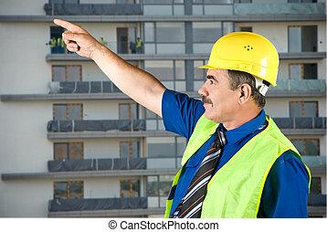 成熟, 建築師, 指, 上, 站點