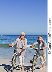 成熟, 自行車, 夫婦, 他們, 海灘