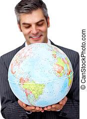 成長した, ビジネス, ビジネスマン, 世界的である, 微笑, 拡大