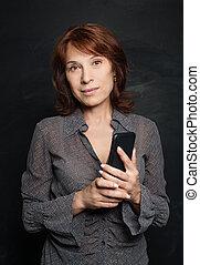 成長した, ビジネス 女, ∥で∥, smartphone., ビジネス 女, 携帯電話