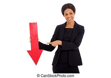 成長した, 女性実業家, アフリカ, 矢, 保有物, 赤