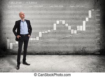 成長する, グラフ, ビジネス男