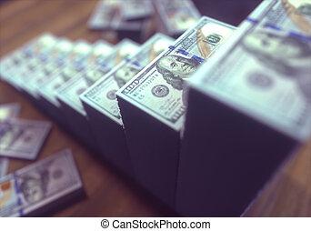 成長する, ドル札, 棒グラフ
