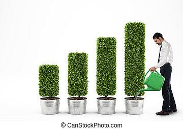 成長する, レンダリング, economy., 3d